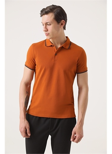 TWN Twn Slim Fit Vizon Pike Dokulu T-Shirt Kahve